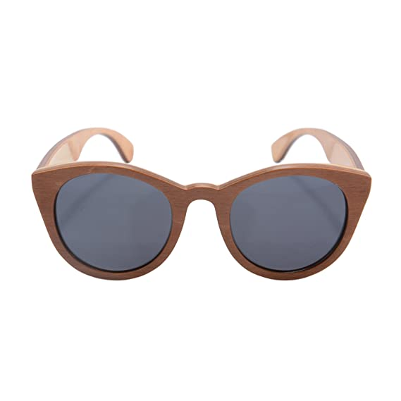 7eb970c487e Vintage Round Frame Wood Skate Polarized Sunglasses Wood for Men with Case-  Z68048(brown