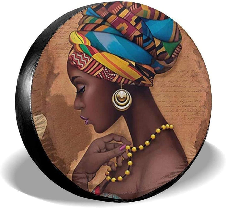 Romance-and-Beauty Traditionnel Africain Noir Femmes tapisseries Collier Couverture de Pneu de Secours Anti-poussi/ère pour Jeep remorque RV SUV Camion Camping-Car remorque de Voyage 14 Pouces