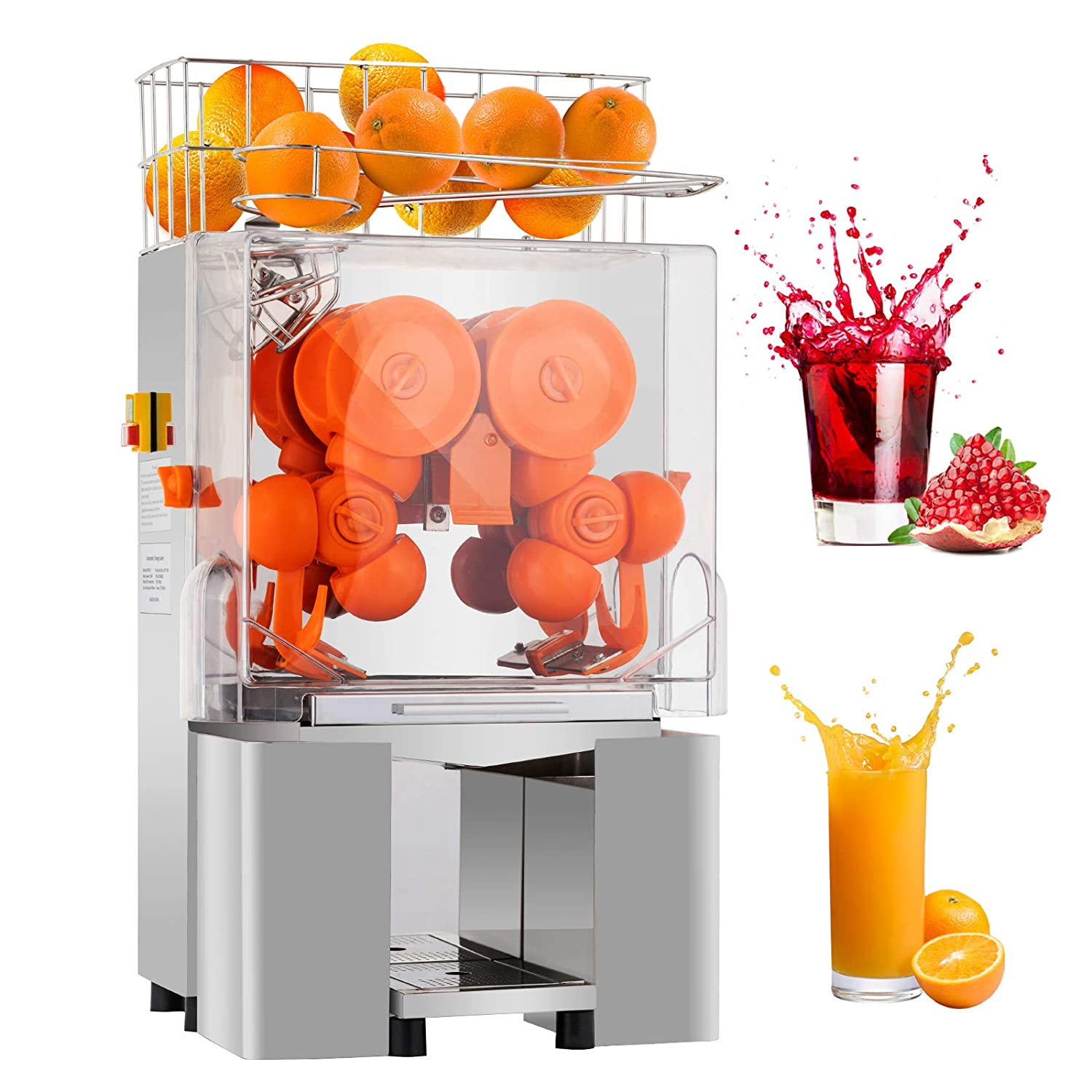 Commercial Orange Juicer Machine Automatic Citrus Juicer Electric Juice Squeezer Lemonade Making Machine Heavy Duty Stainless Steel with Bins