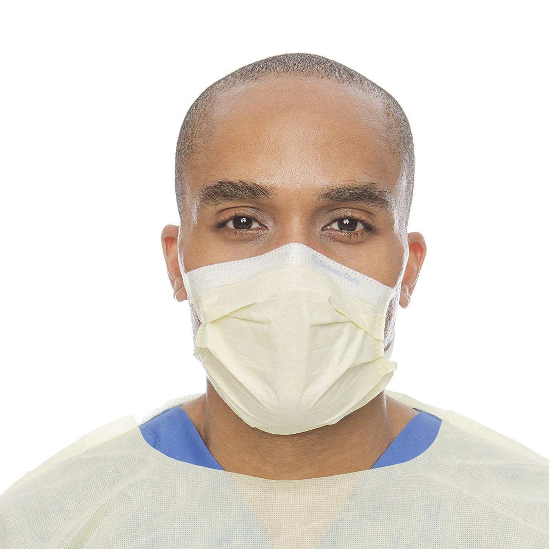 Halyard Health 47117 HALYARD Procedure Mask with Earloops, Yellow (Case of 500)