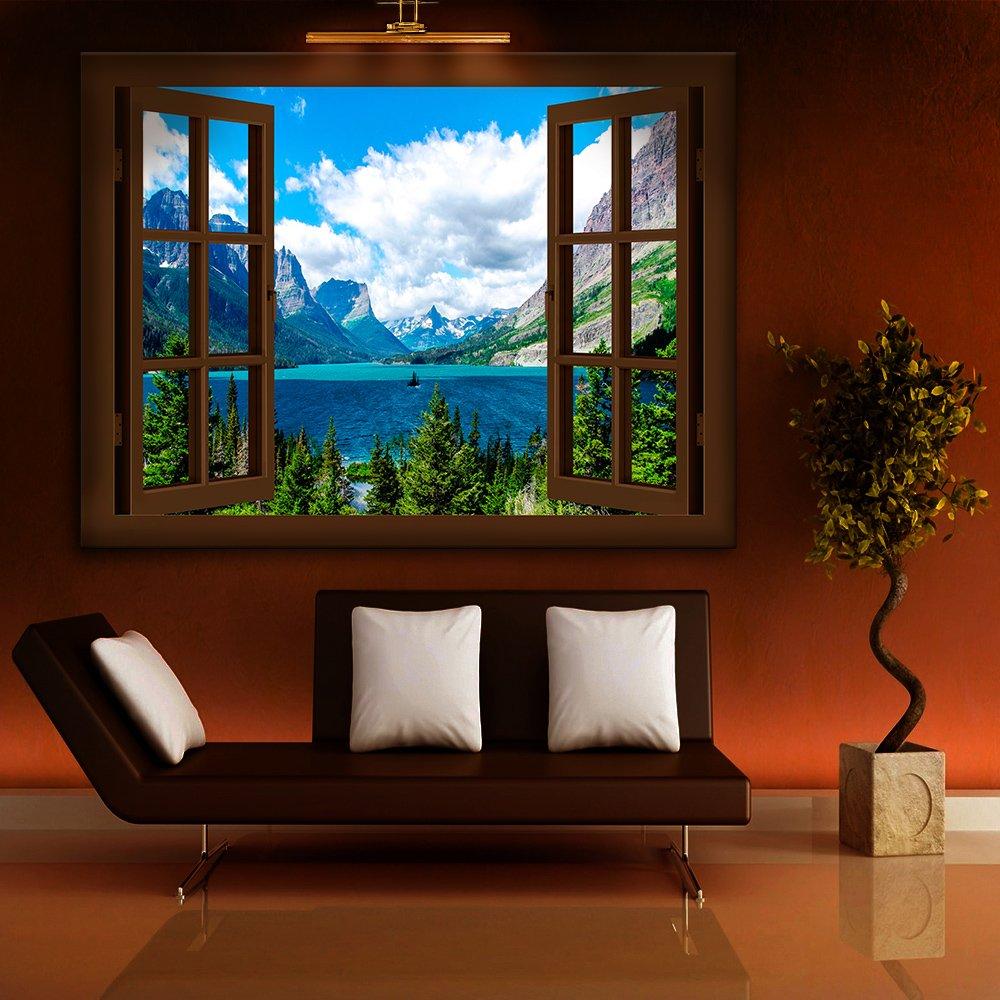 BOIKAL XXL76-4 Fensterblick Leinwand bild 3D Illusion - - - FERTIG GERAHMTE BILDER Kein POSTER     Wandbild 80 x 70 cm Weiß   Farbe - Große 21 Variante wählbar   Fenster Kunstdruck Landschaft Größe Berge, See, Wald 659a3d
