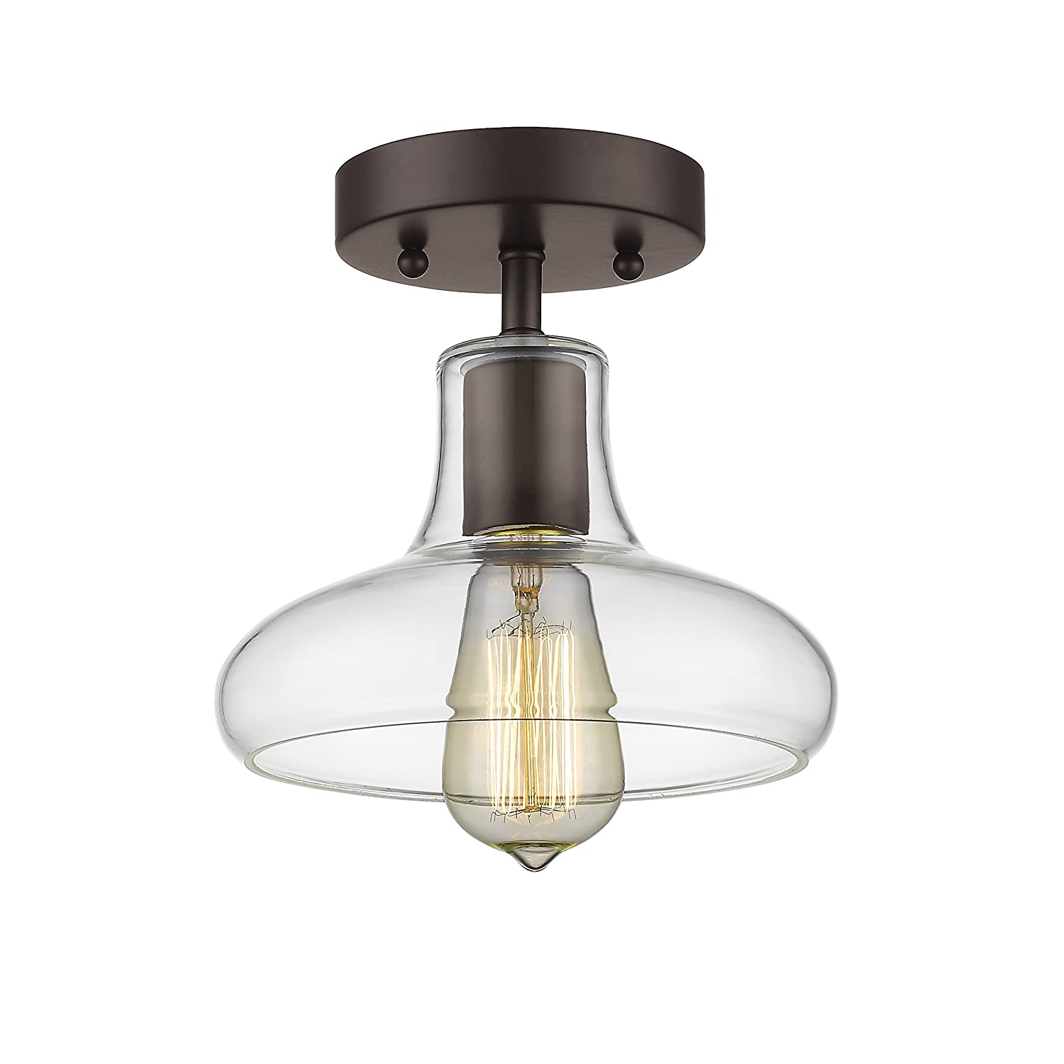 Chloe loft industrial 2 light oil rubbed bronze wall sconce free - Chloe Lighting Ch854009cl08 Sf1 Industrial Industrial Style 1 Light Rubbed Bronze Semi Flush Ceiling Fixture 8 Shade Amazon Com