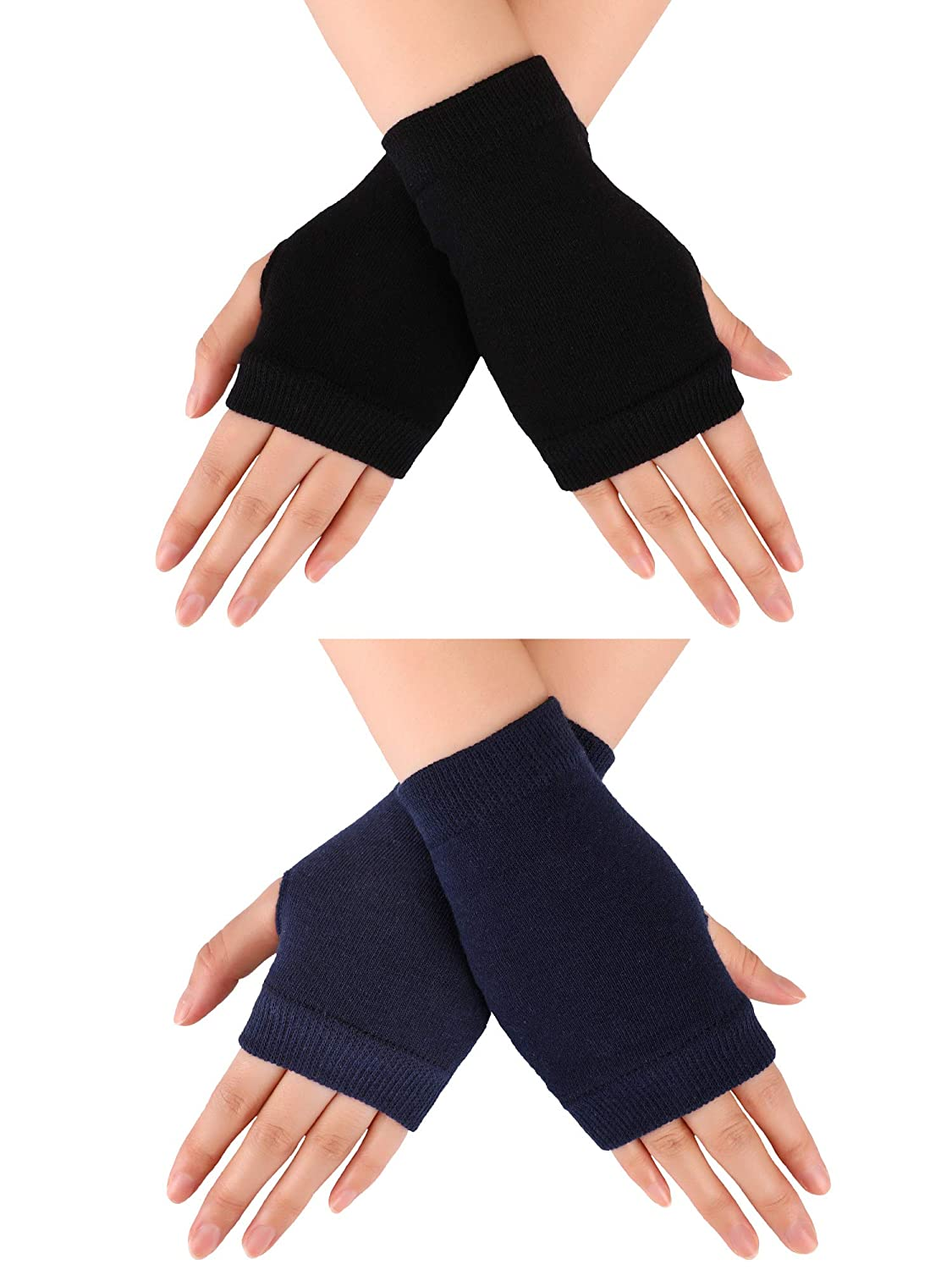 Blulu 2 Pairs Fingerless Warm Gloves with Thumb Hole Cozy Half Fingerless Driving Gloves Knit Mittens for Men, Women Women (Black)