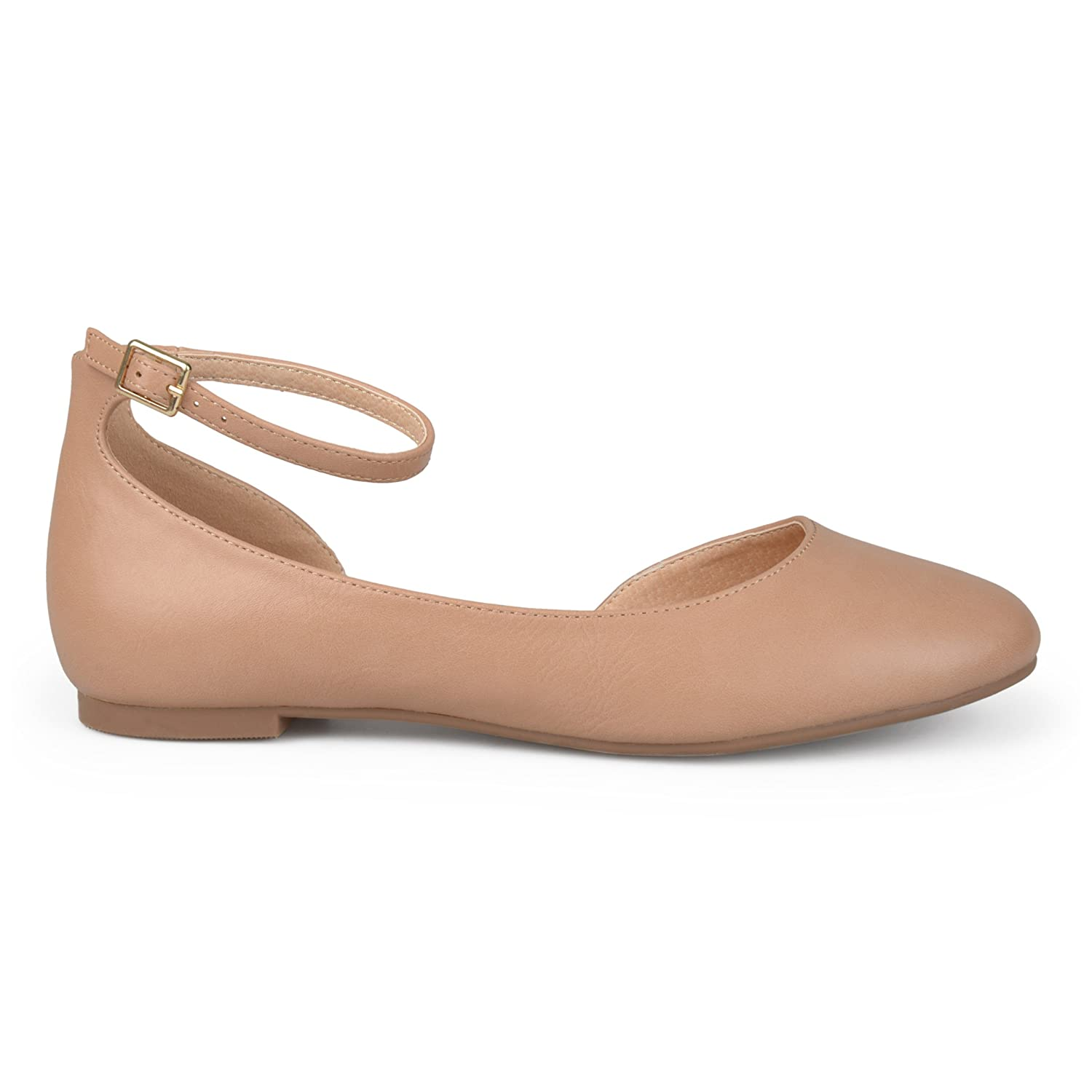 Brinley Co Womens ARO Faux Leather Wide Width Ankle Strap Round Toe D'Orsay Flats B074WFX2HP 6 B(M) US|Nude