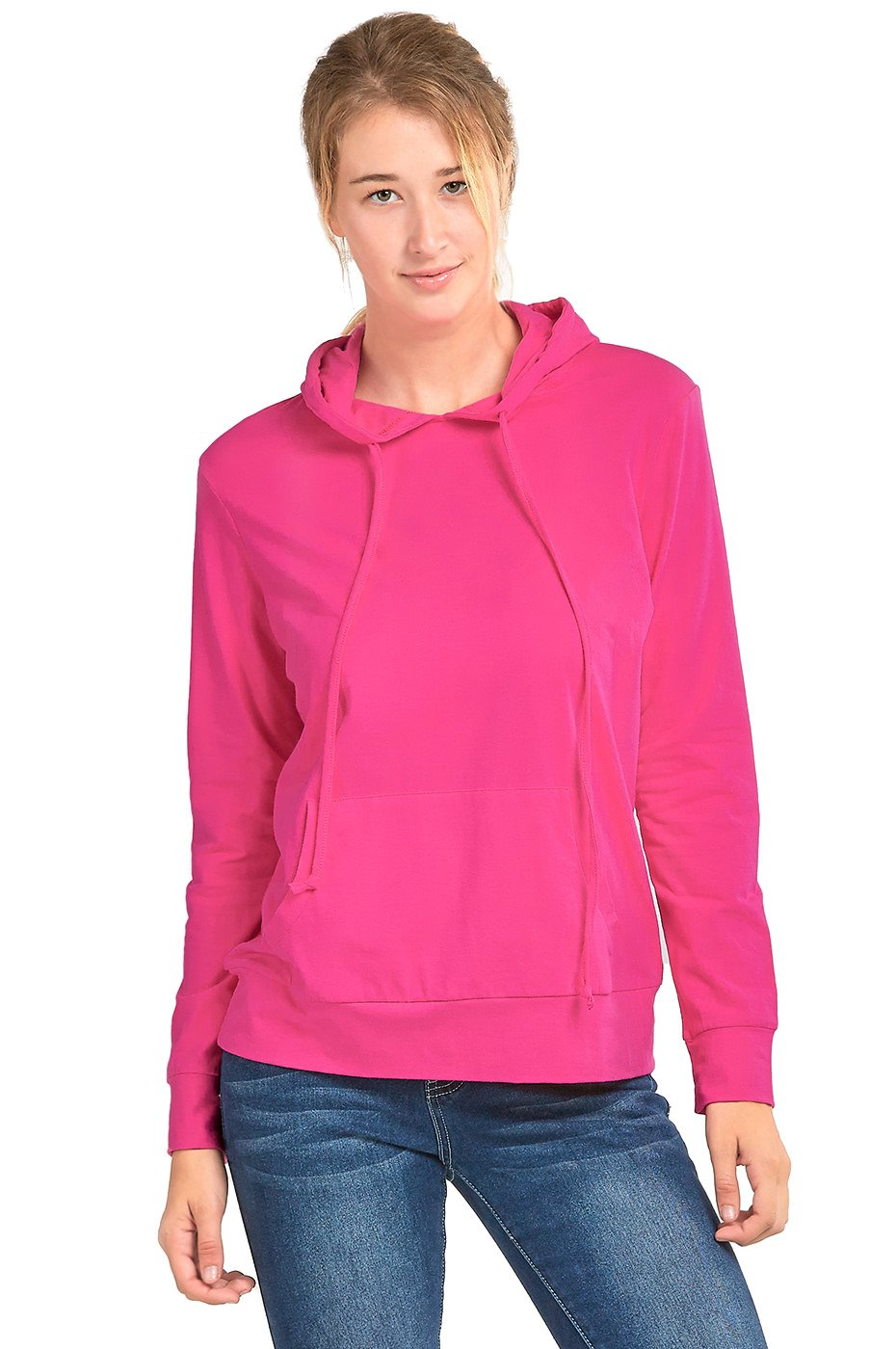 Sofra Women's Thin Cotton Pullover Hoodie Sweater (L, Fuchsia)