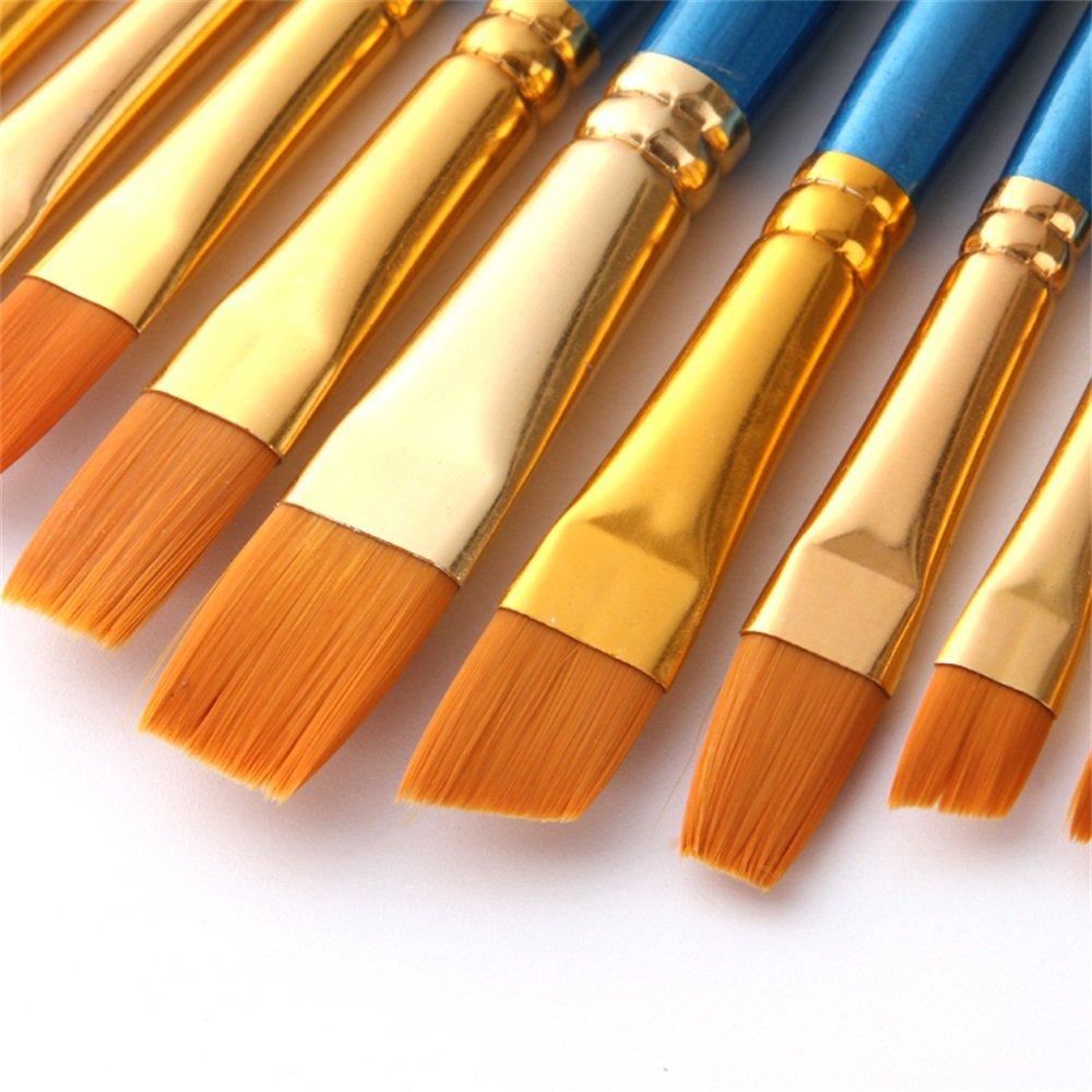 Aook artista pennelli Superior Hair artisti punta a punta arrotondata piatto set di pennelli per acquerello acrilico pittura a olio forniture 12 New