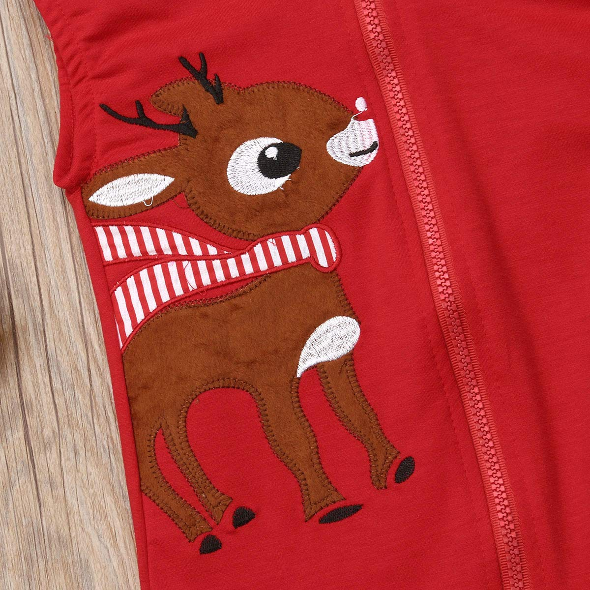 Qiylii Christmas Baby Boys Girls Cute Deer Hooded Jumpsuit Romper One-Piece Zipper Playsuit Clothes