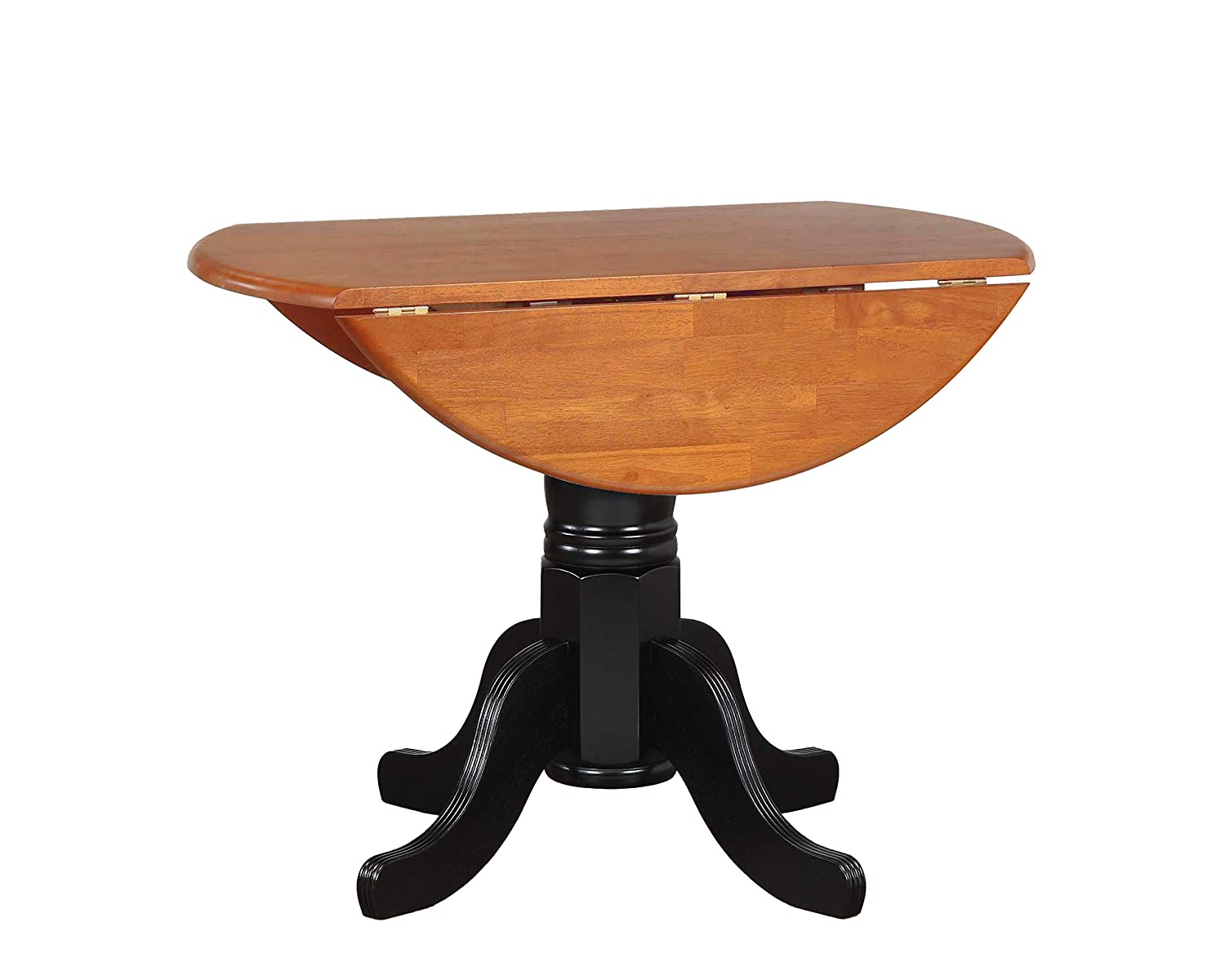 Fabulous Sunset Trading Round Drop Leaf Table With Cherry Finish Top Antique Black Alphanode Cool Chair Designs And Ideas Alphanodeonline