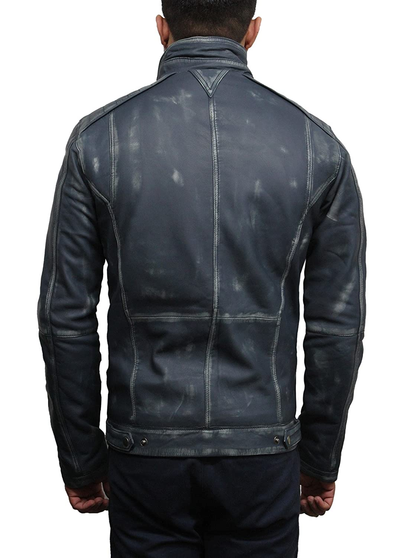 Giacca Classica da Uomo in Stile Vintage Giacca da Moto in Vera Pelle di Agnello BRANDSLOCK Giacca di Pelle da Uomo