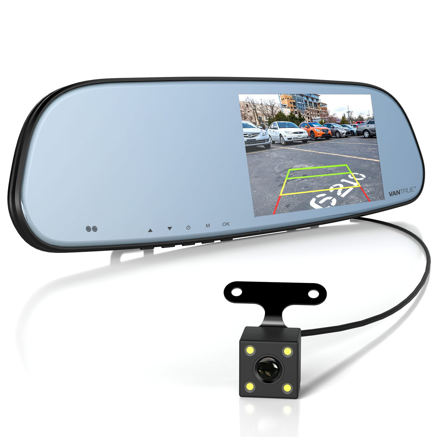 "Vantrue N3 Dual Dash Cam Rearview Mirror Backup Camera 5"" IPS Touch Screen FHD 1080P Front and Rear Dash Cam With IP 67 Waterproof Rear View Reverse Back up Camera, LLL Night Visison by VANTRUE"