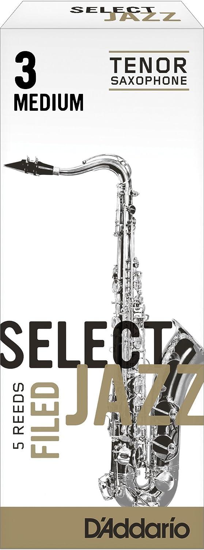 Rico Select Jazz Tenor Sax Reeds, Filed, Strength 3 Strength Medium, 5-pack