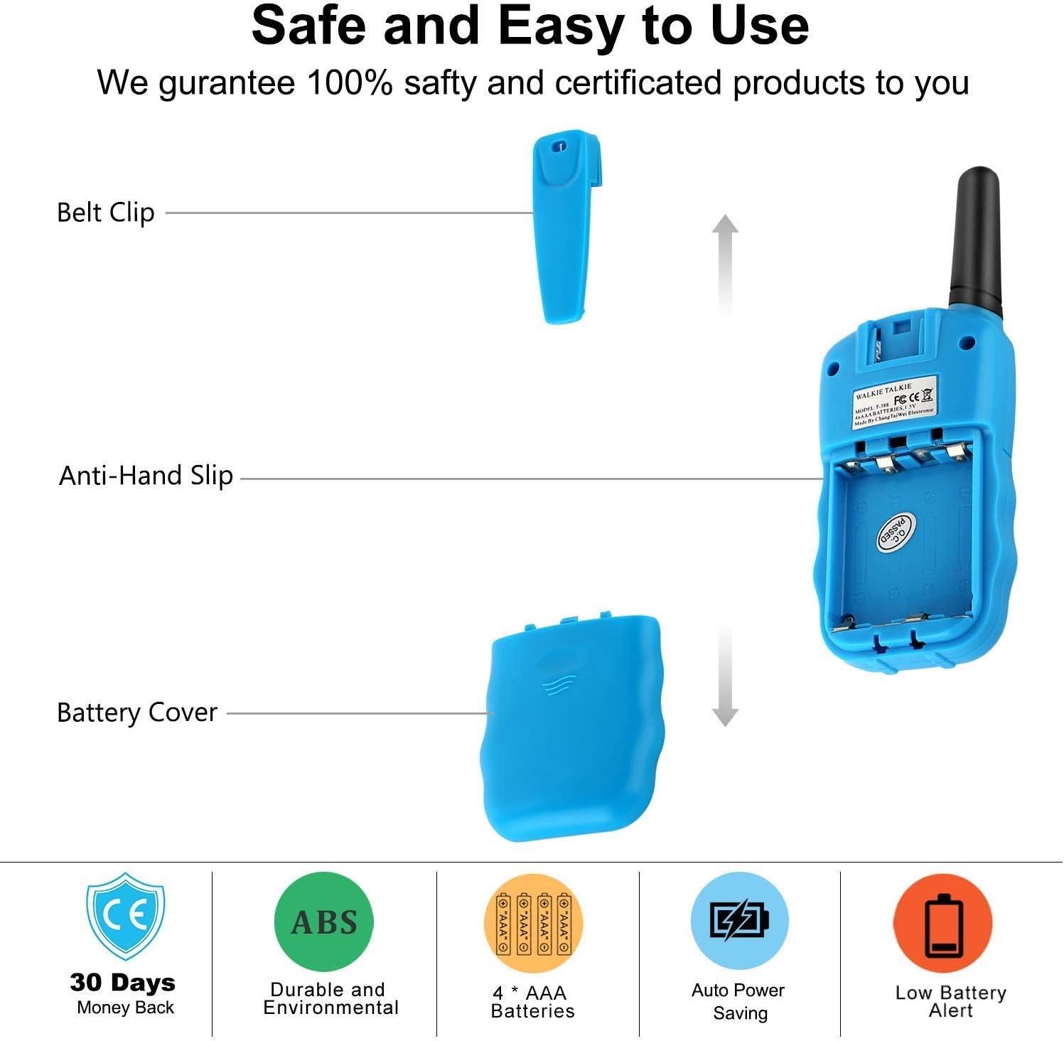 Flybiz Walkie Talkie Ni/ños PMR446 8 Canales LCD Pantalla Funci/ón VOX 10 Tonos de Llamada Bloqueo de Canal Linterna Incorporado 8 Canales LCD Pantalla VOX Amarillo