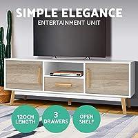 Artiss TV Unit 120cm Length Entertainment Unit Wooden TV Cabinet Scandinavian Console Table, White & Wood