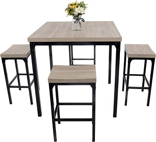 LUCKYERMORE 5 Piece Pub Dining Table Set Counter Height Square Kitchen  Table and Chairs for 4 Bar Stool Industrial Style Dinette Set