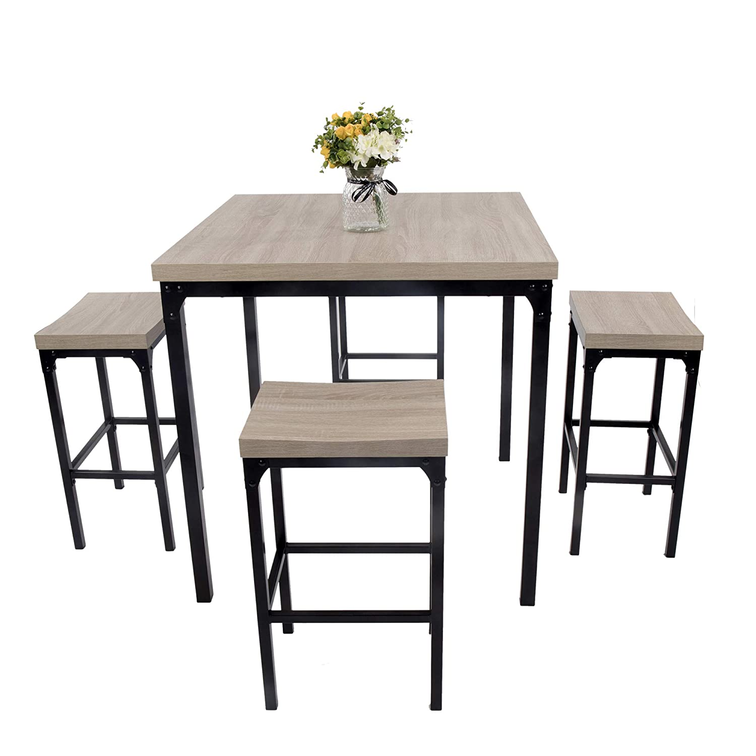 Amazon Com Luckyermore 5 Piece Pub Dining Table Set Kitchen Table