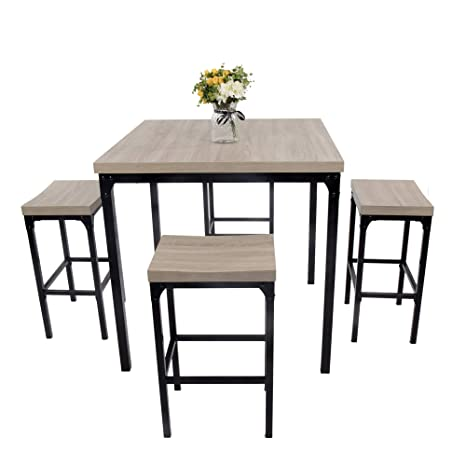 Stupendous Luckyermore 5 Piece Pub Dining Table Set Kitchen Table And Chairs For 4 Bar Stool Industrial Style Counter Height Square Dinette Set Download Free Architecture Designs Scobabritishbridgeorg