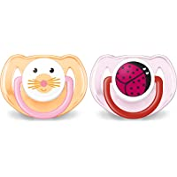 Philips Avent Orthodontic Pacifier, 6-18 months, Pink Animal Designs, 2 pack, SCF182/15