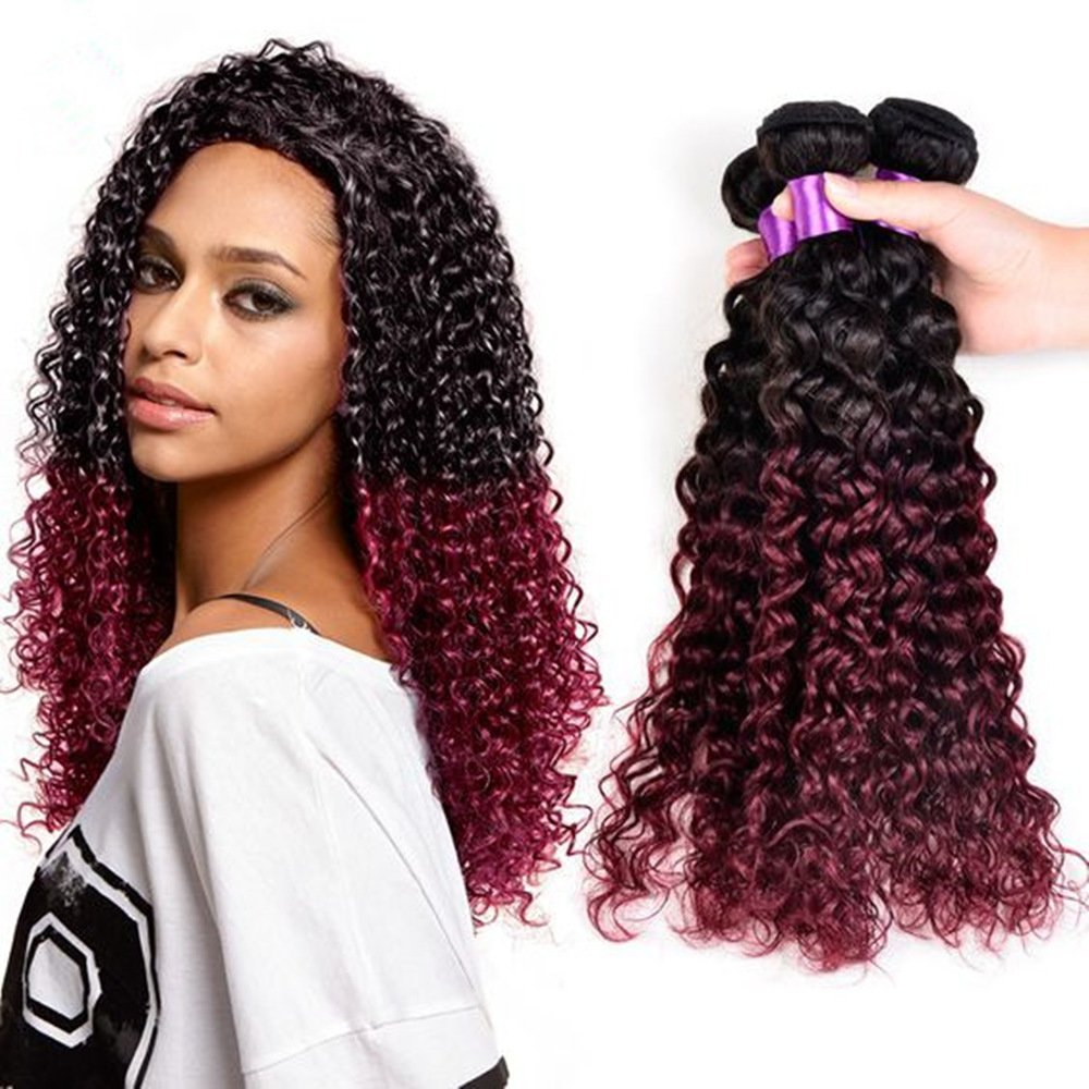 d3220de93f00f5 Amazon.com   Burgundy Brazilian Kinky Curly Hair Ombre Human Hair Weave  Bundles Two Tone 1B 99J Virgin Human Hair Jerry Curl Ombre Hair Extensions  Bundles ...