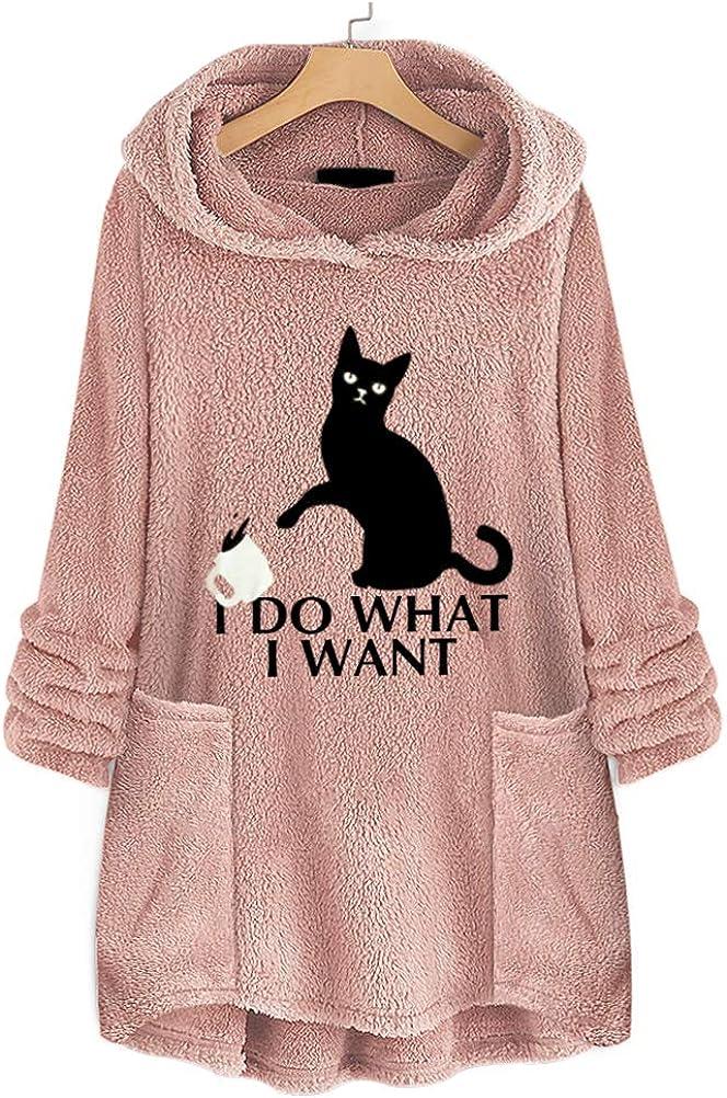 ADLISA Women Fashion I Do What I Want Letter Printed Oversize Loose Sweat Shirt Hoodie Blouse