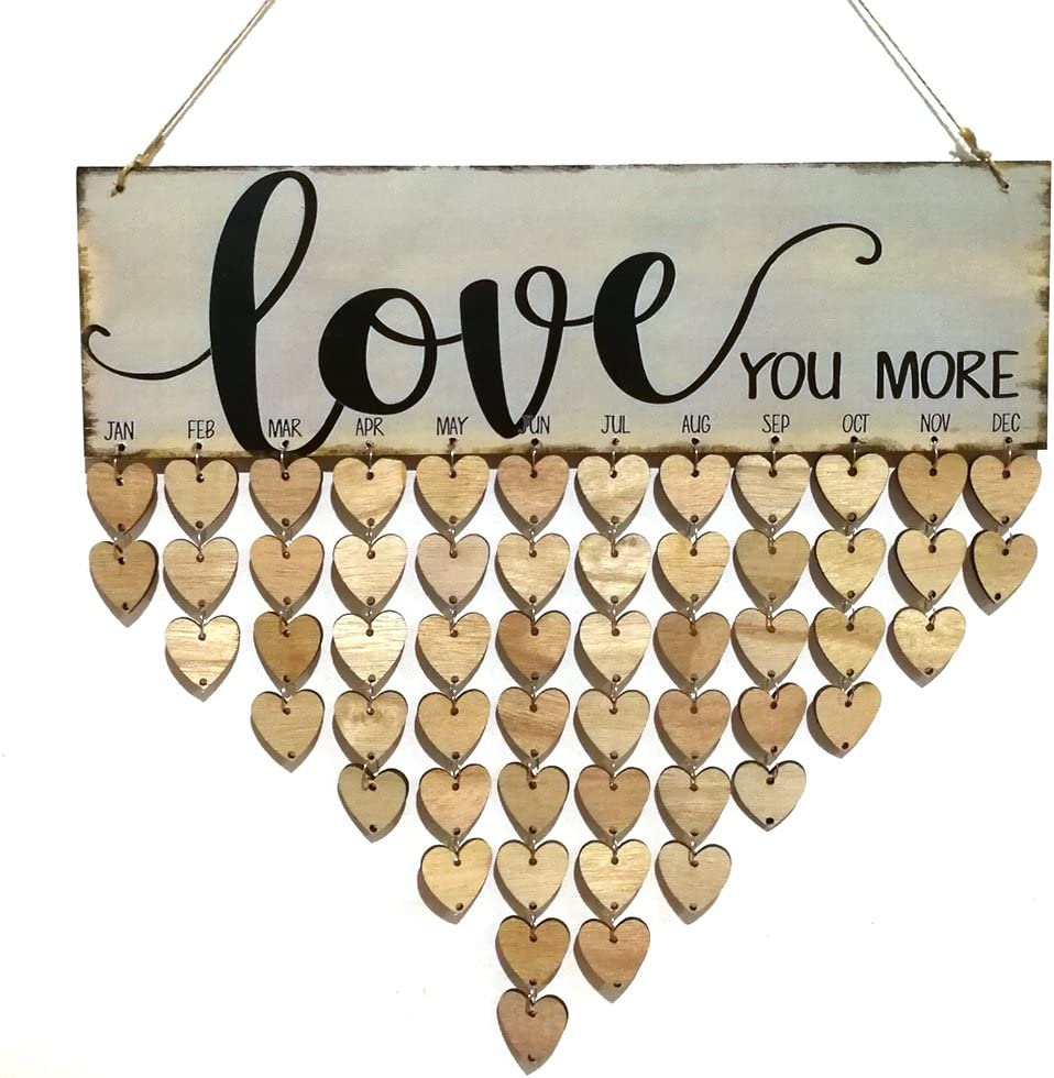 rosenice Love You More Family Birthday Reminder Hanging DIY Heart Shape Wooden Calendar Plaque Home Wall Decoration