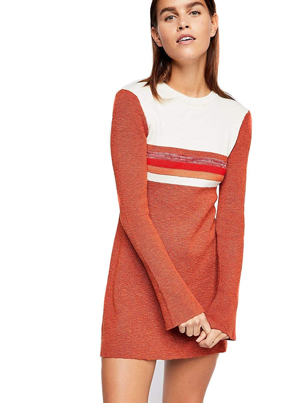 Free People colorblock Mini Sweater Dress (Rusty Red)