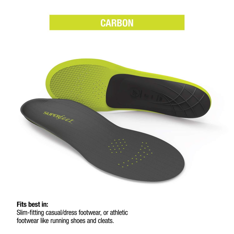 Superfeet CARBON, Sport Shoe Carbon Fiber Performance Thin Insoles, Unisex, Gray, Large/10.5-12 Wmns/9.5-11 Mens