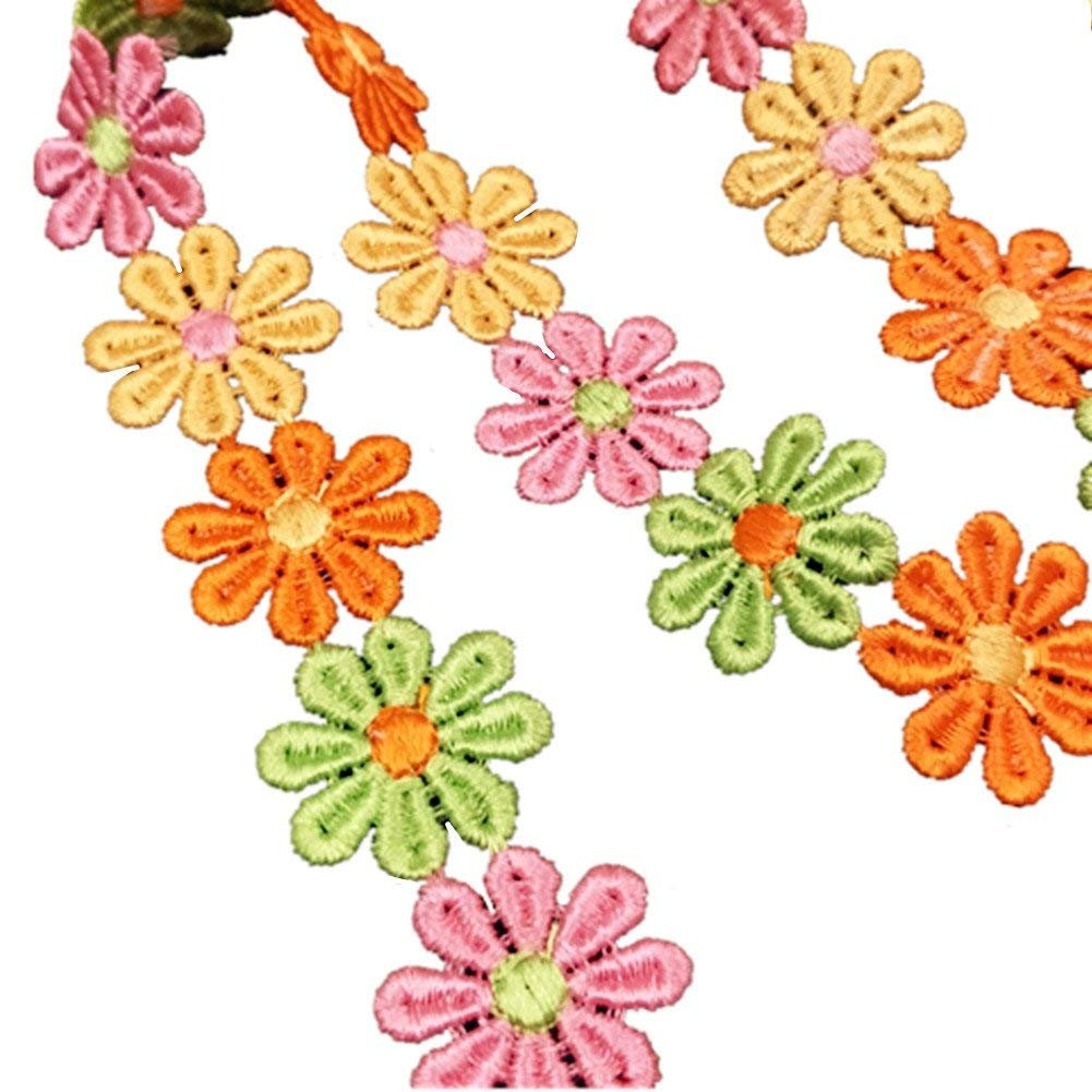 style2 YEQIN 3 Yard Daisy Flower Sun Flower Decorating Lace and Trims for Sewing and Craft Projects