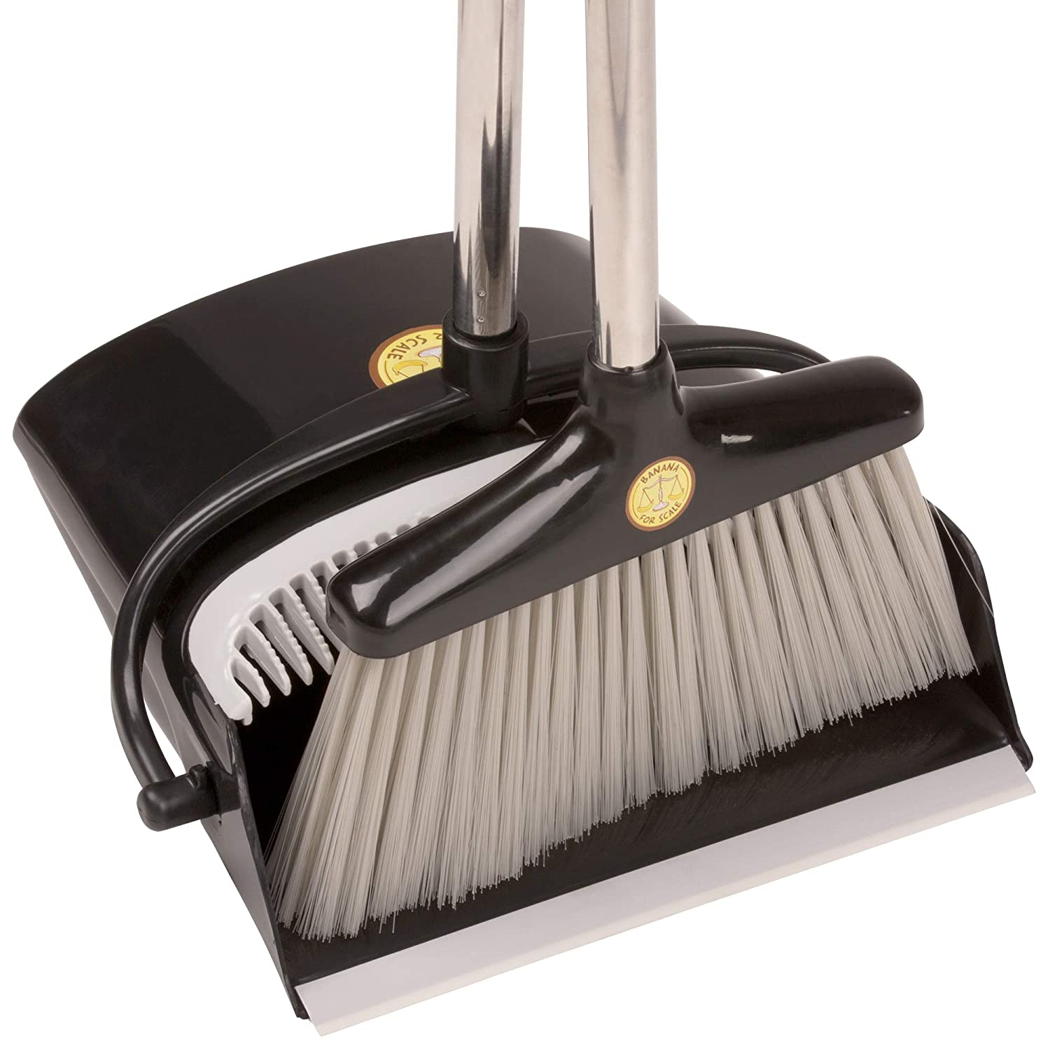 Lobby and Kitchen Floor|No Bending Salon Home Banana For Scale Premium Broom and Dustpan Set|Upright Dustpan Combo Self-Cleaning Bristles|Long Brush Perfect Use For Sweeping Pet Hair Dust in Office