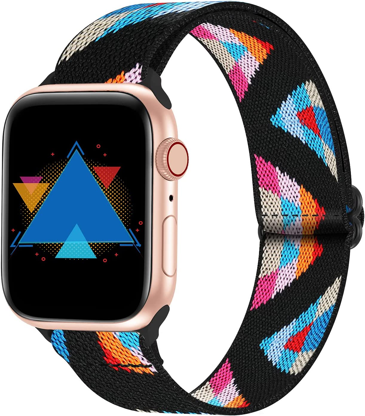 YAXIN Stretchy Solo Loop Band Compatible with Apple Watch Bands 38mm 40mm 42mm 44mm, Adjustable Elastic Band Braided Nylon Sport Replacement Strap Women Men Compatible for iWatch Series SE/6/5/4/3/2/1