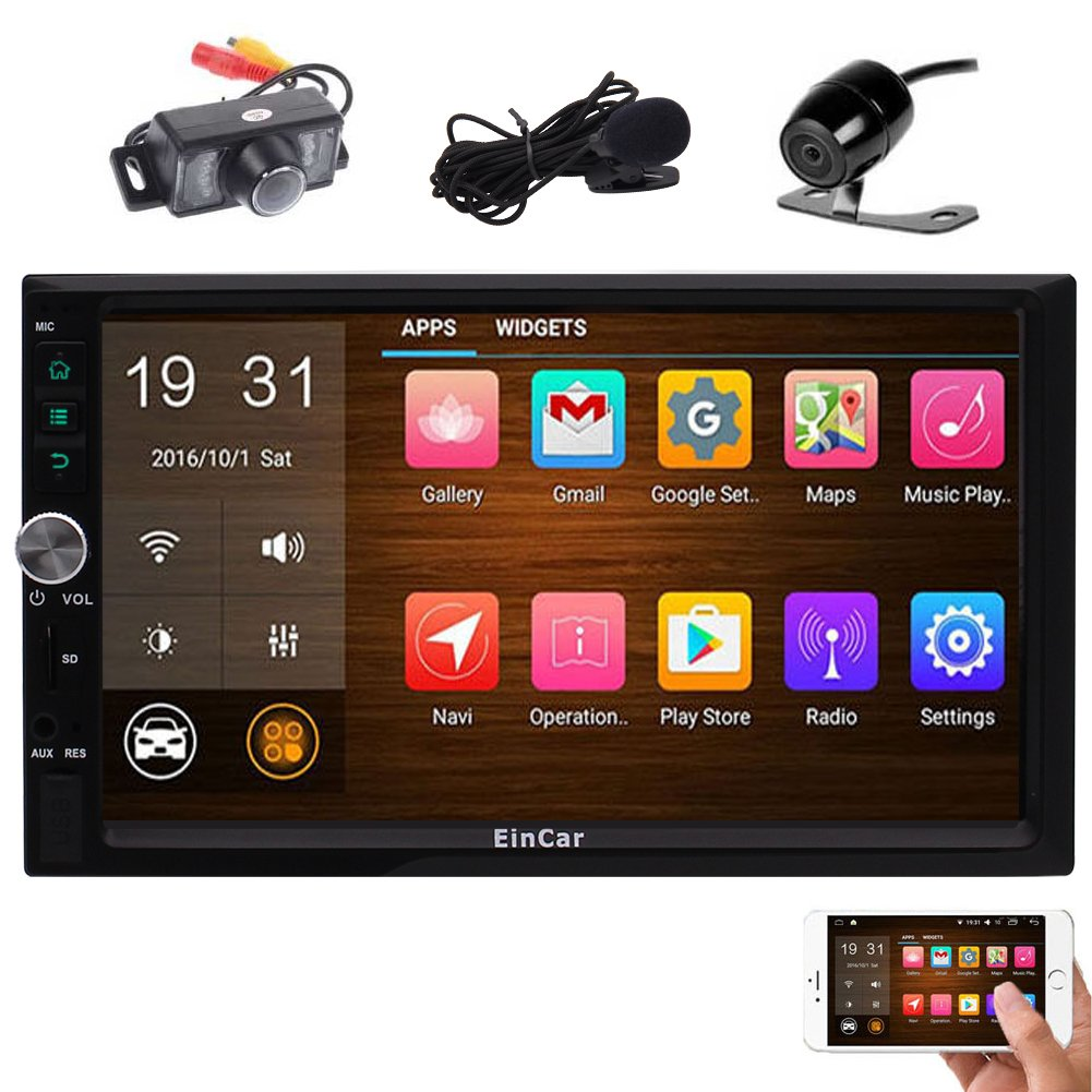 Front & Rear Camera included! Android 6.0 Marshmallow Double Din Car Stereo with 7'' Touch Screen In Dash GPS Navigation Car Entertainment Radio Receiver with External Microphone Support Bluetooth WiFi Mirror Link YunFa Technology Limited