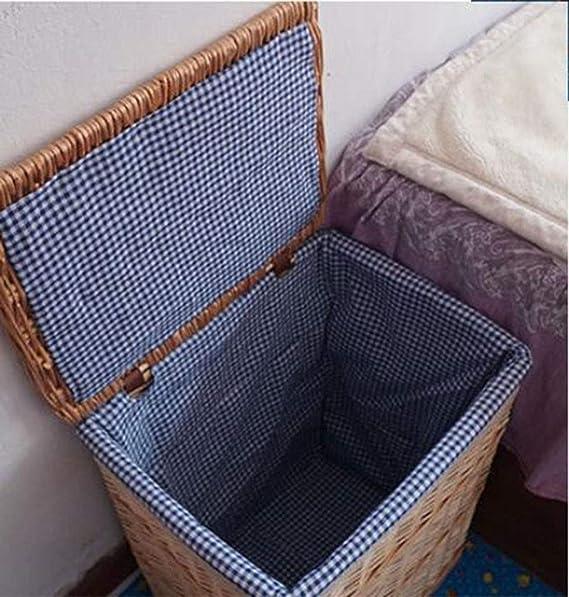 Caja De Almacenaje Tejida A Mano De La Ropa De La Rota, Alineada con El Jardín Seco, Casero,37 * 27 * 48Cm: Amazon.es: Hogar