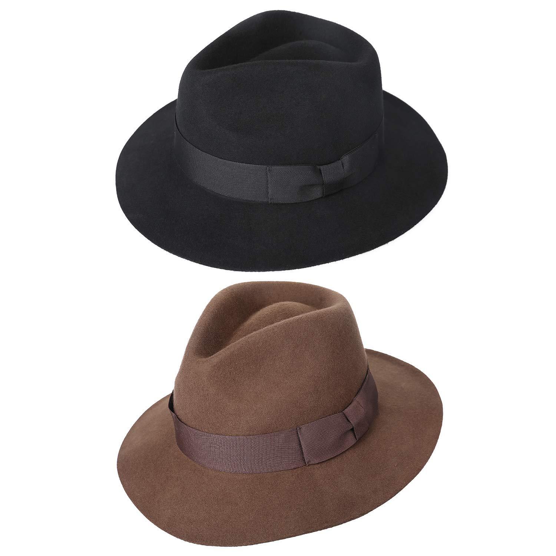 77786aa324b935 Amazon.com: Sedancasesa Wool Felt Fedora Hat Mens Western Outback Safari  Wide Brim Hats Black: Clothing