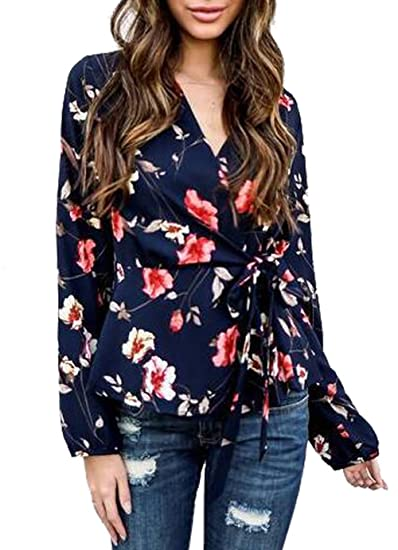7e4a3cfd7db Amazon.com  MNLYBABY Women Floral Print Deep V-Neck Blouses Tie Front Long  Sleeve Casual Shirt Tops  Clothing