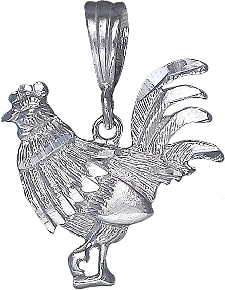 Sterling Silver Rooster Charm Pendant Necklace Diamond Cut Finish with Chain