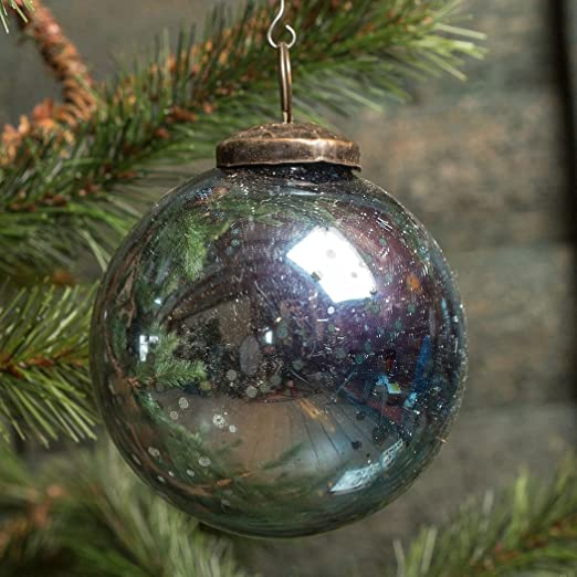 Christmas Tablescape Decor - Solid blue mercury glass kugel ball Christmas ornament - Set of 6