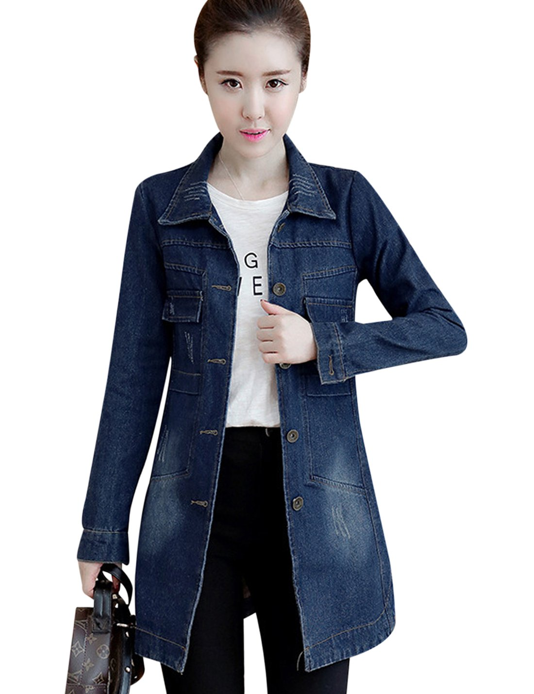 Tanming Women's Button Front Mid Long Denim Jean Jacket Coat (Medium, Dark Blue)
