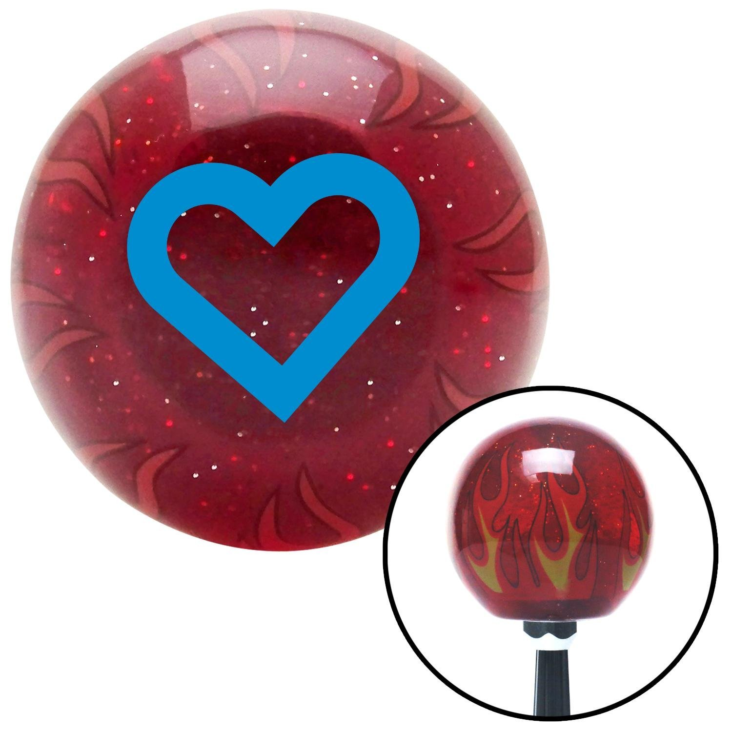 Blue Fat Outlined Heart American Shifter 237066 Red Flame Metal Flake Shift Knob with M16 x 1.5 Insert
