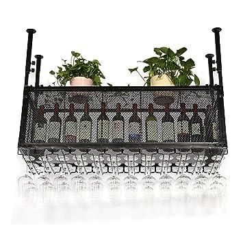 Portavasos, Porta Vasos invertidos, Percha de Vidrio Colgante, botellero de Bar, portavasos Doble Colgante (Tamaño : 100 * 35cm): Amazon.es: Hogar