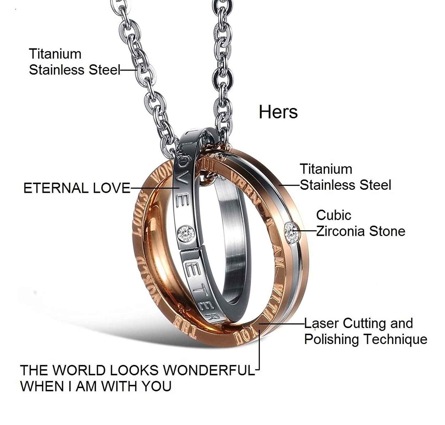 His & Hers Matching Set Titanium Stainless Steel Couple Pendant ...