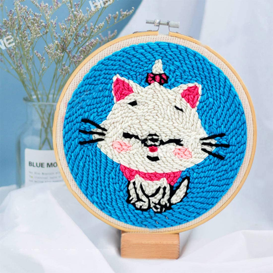 Woolen Latch Hook Kits with Punch Needle Handcraft Embroidery Creative Gift for Adults Kids Beginner DIY Rug Hooking Kit
