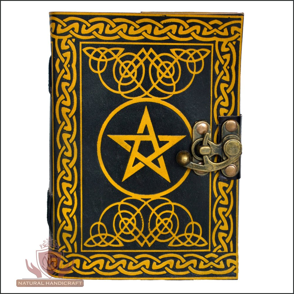 Leather Journal Pentagram Embossed Pentacle Wicca Pagan Handmade Notebook Book of Shadows Personal Organizer Daily Planner Office Supplies 5 x 7 Inches (Small 5(L) x 7(H) Inches, Yellow & Black, 1)