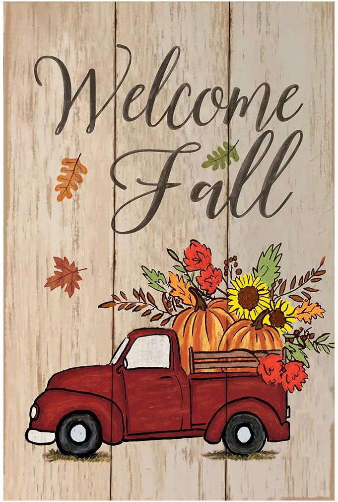 Morigins Welcome Fall Red Truck Decorative Autumn Pumpkin Garden Flag Double Sided Rustic Harvest Maple Leaf Outdoor Flag 12.5x18 inch