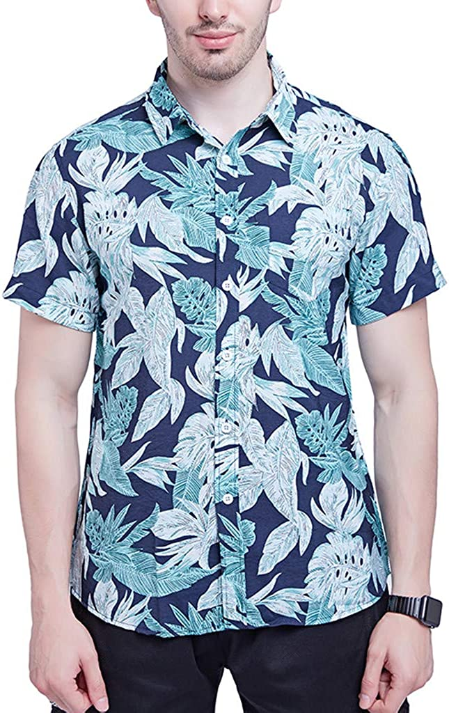 Mens Flower Casual Button Down Short Sleeve Aloha Hawaiian Shirt