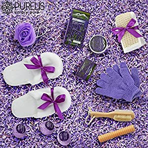 Deluxe XL Gourmet Spa Gift Basket with Essential Oils. 20-Piece Luxury Bath & Body Gift Set with Bath Bombs, Bubble Bath & More! Huge Gift Set for Her, Holiday Gift (Grapeseed & Lavender)