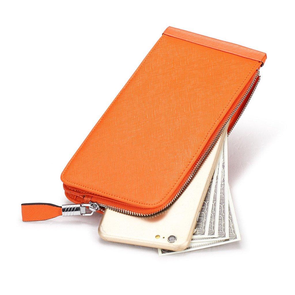 JEEBURYEE Women's Genuine Leather Multi Credit Card Holder Wallet RFID Blocking Long Bifold Clutch Wallet Ladies Purse with Zipper Pocket Orange by JEEBURYEE (Image #6)