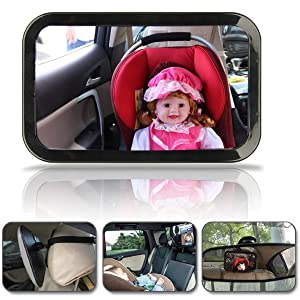 Hillington ¨ Large Wide View Rear Baby Child Car Seat Safety Mirror Adjustable Headrest Mount- 360 Degree Adjustability , Premium Quality