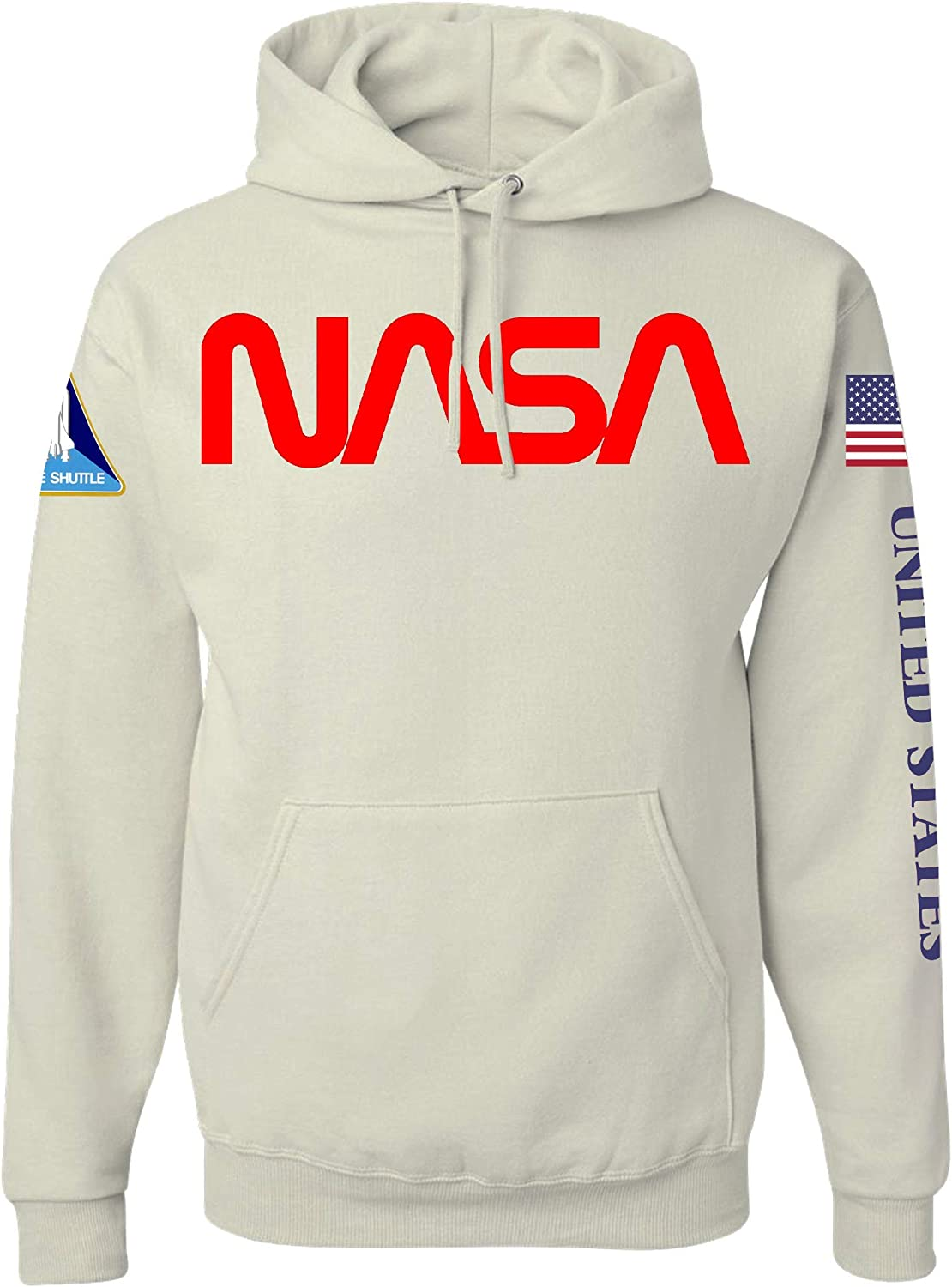 Omnitee Nasa Worm Logo Space Shuttle Heavy Duty White Pullover