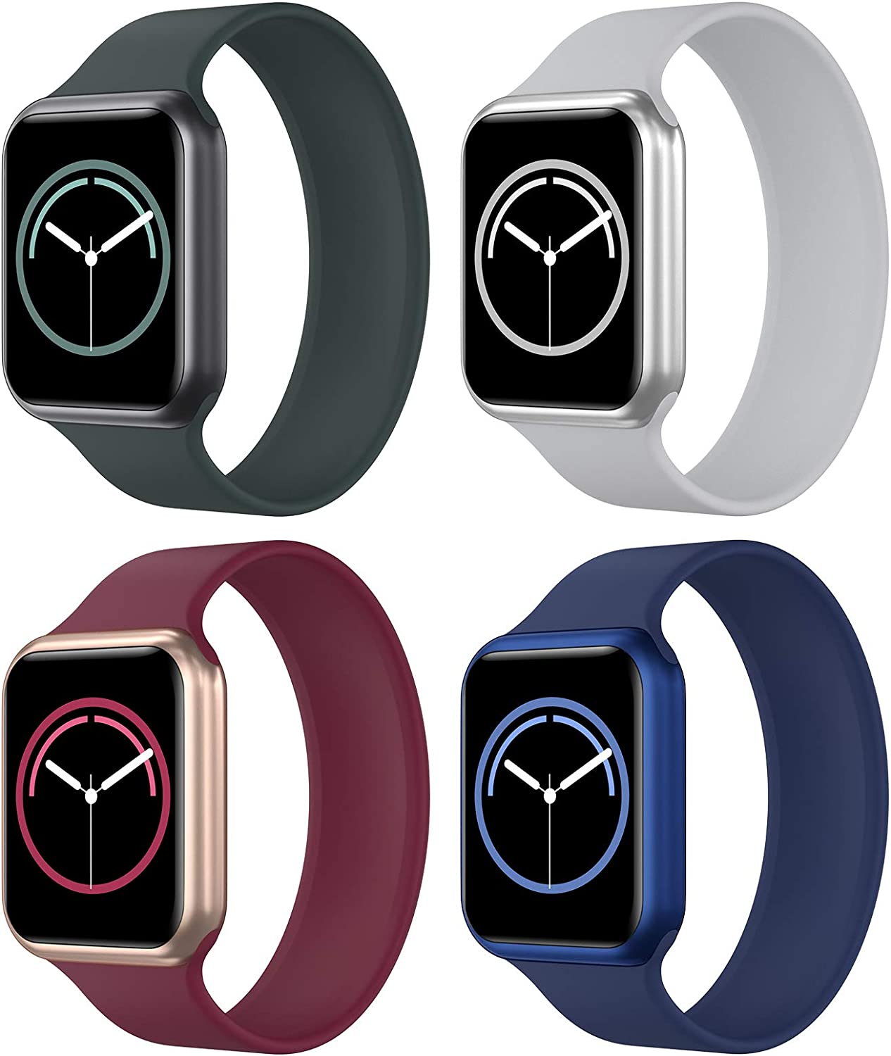 KRISVI Pack 4 Sport Bands Compatible with Apple Watch Bands 42mm 44mm, Stretchable Apple Watch Solo Loop with No Clasps or Buckles for Men Women iWatch Series 6 5 4 3 2 1 SE(42M-6)