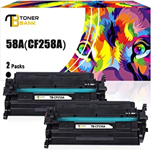 Toner Bank Compatible Toner Cartridge Replacement for HP 58A CF258A CF258X 58X HP Laserjet Pro M404n M404dn MFP M428fdw M428fdn M428dw M404dw M404 M428 Printer Ink (Black,2-Pack)