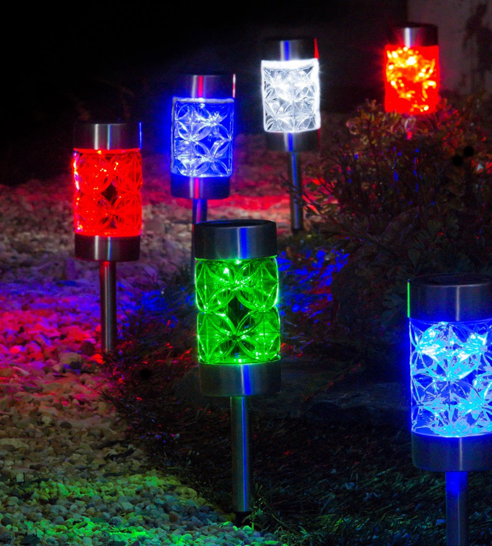 A Ting Outdoor Glass and Plastic Blooms Solar Garden Path Lights, 4 Assorted